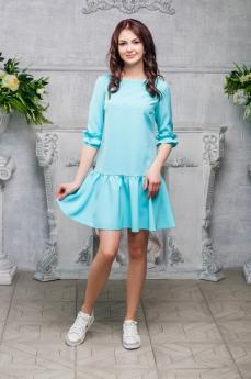 Мятное платье с декором на рукаве Look Russian
