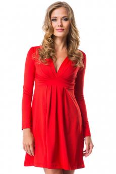 Красное платье с длинными рукавами Mondigo