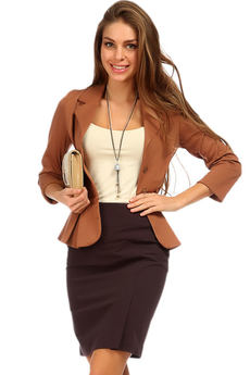 Коричневая офисная юбка с разрезом Mondigo