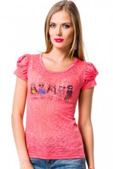 Полупрозрачная футболка с присборенными рукавами Mondigo