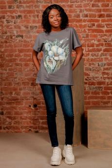 Серая футболка с цветами ZAVI