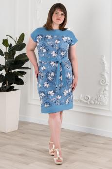 Синее платье с цветами Шарлиз