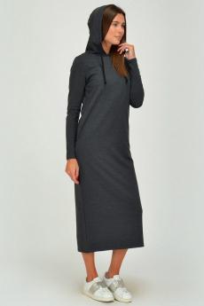 Длинное серое платье с капюшоном и карманами Viserdi